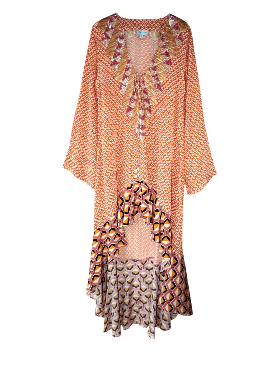Kleid spiced geo apricot