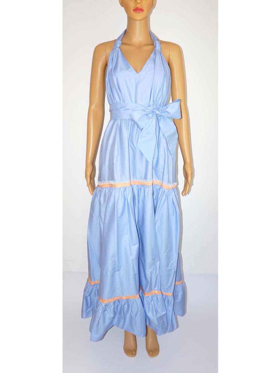 Kleid lang hellblau apricot